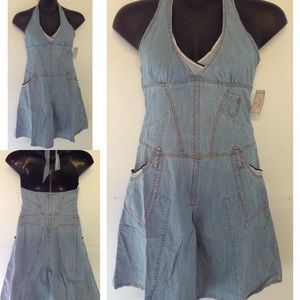 Heritage 1981 Denim Dress Halter S Red Trim Boho